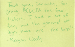 Letter from Canucks fan, Keegan Woods