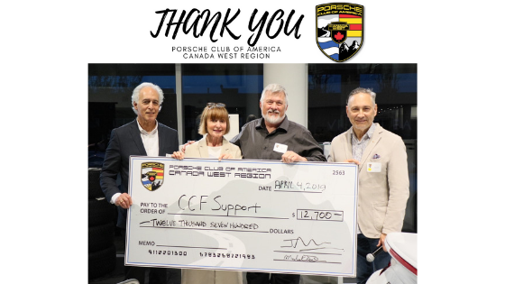 Porsche Club presents CCFSupport with a cheque